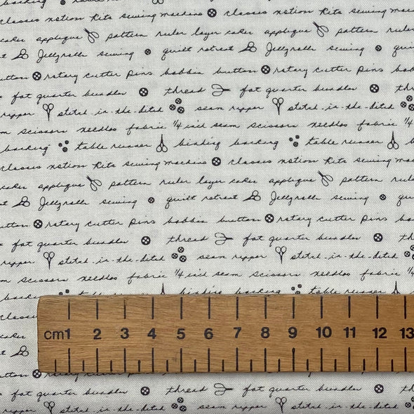 Handwritten Text on White - Cotton Print