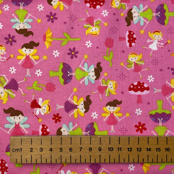 """Fairy Garden"" Pink - Cotton Print"