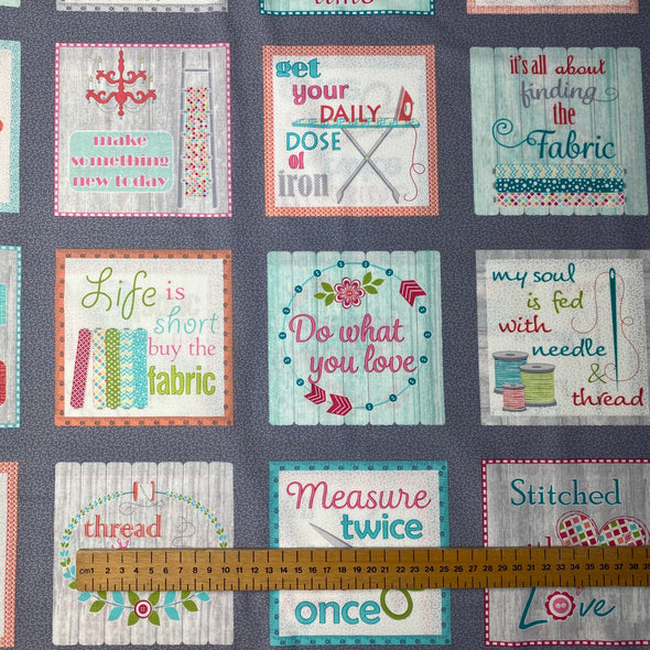 Sew Wordy My Happy Place - Cotton Print