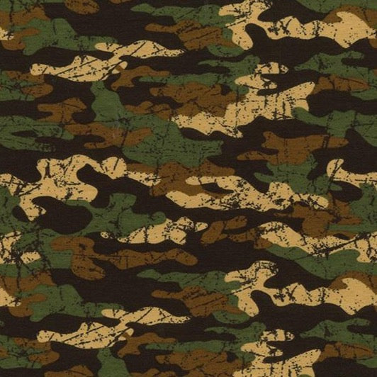 Army Camouflage Print - Loop Backed Cotton Jersey