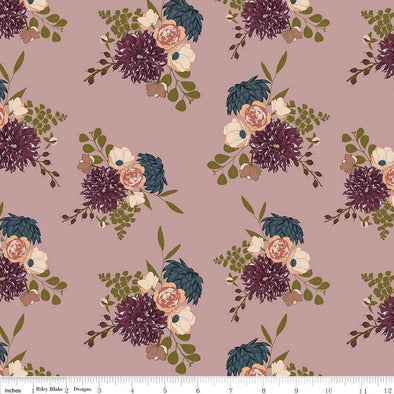 Dusky Rose Dahlia Cotton Jersey