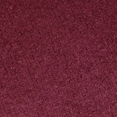 Claret Wool Blend Boucle Coat Fabric