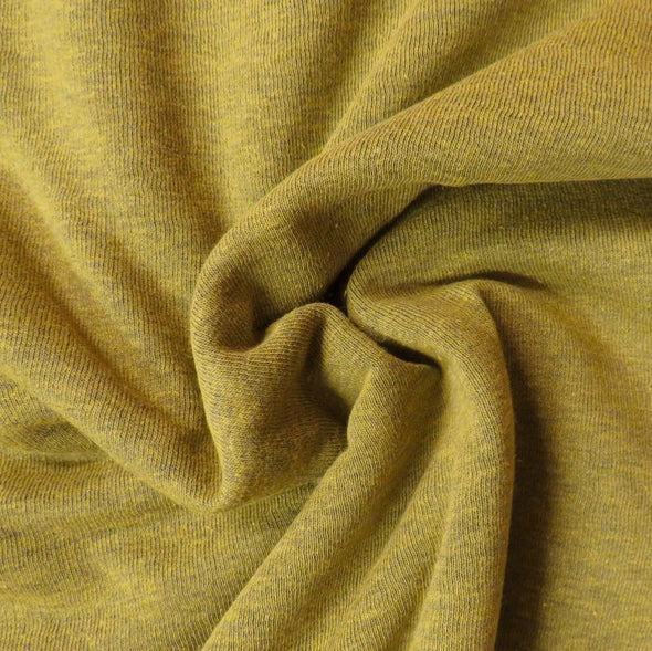 Gold Green Heathered Fleece-back Sweatshirting