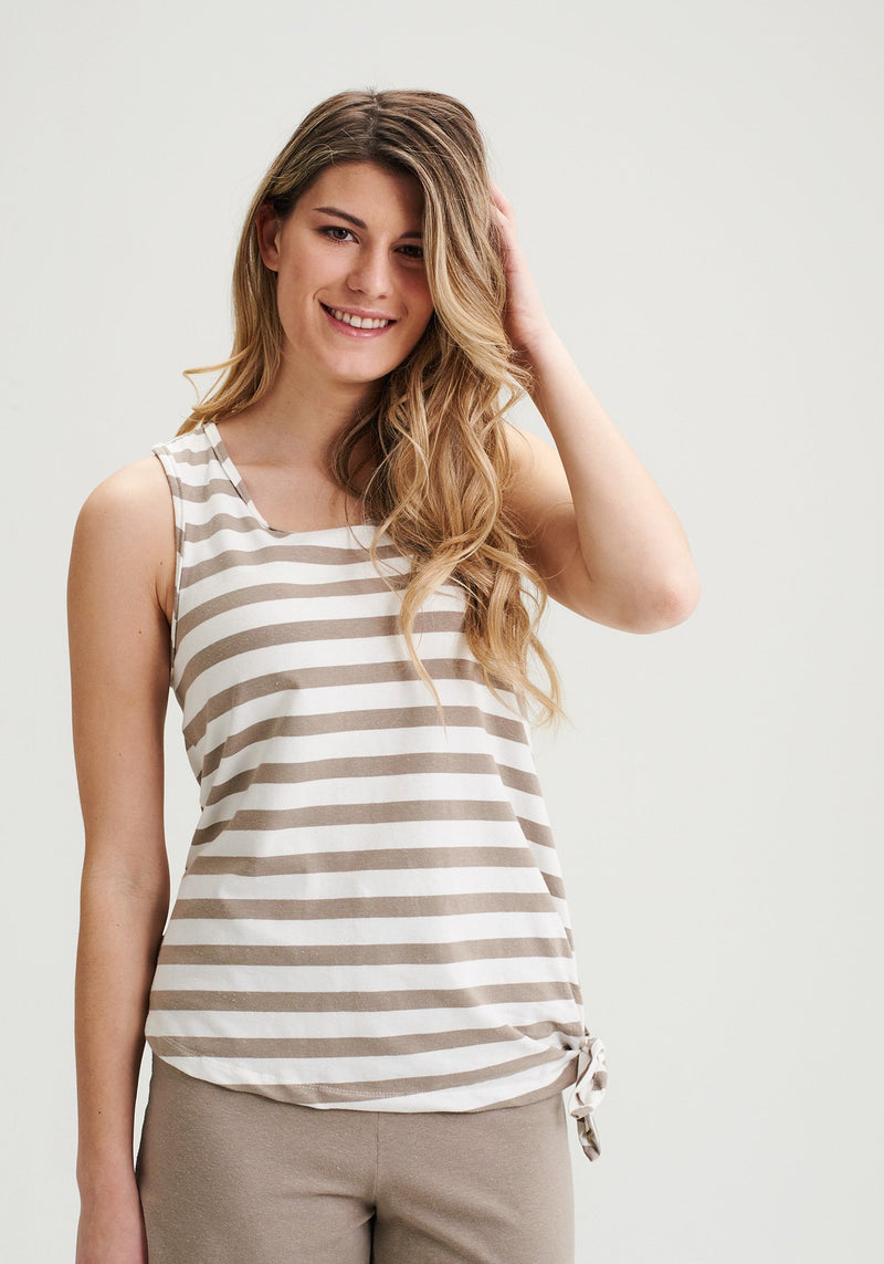 ARALIE - Striped slatted racerback tank top