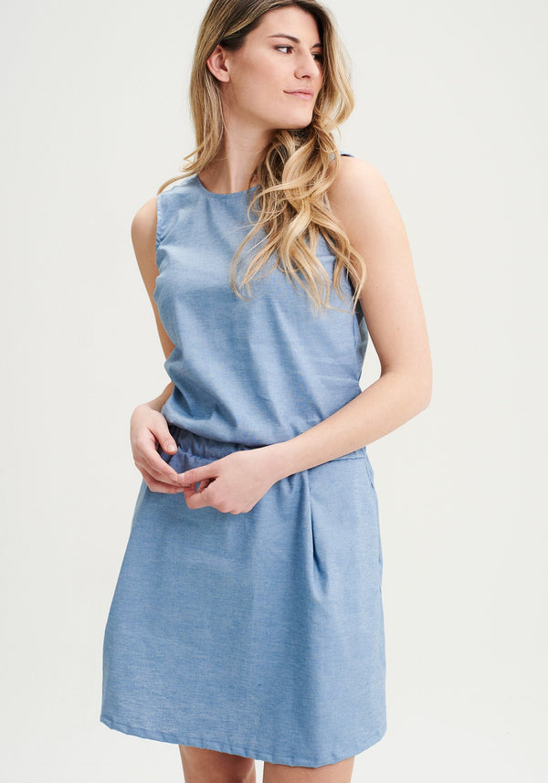 FREESIA - Blue hemp dress
