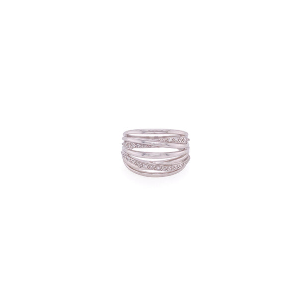 14ct White Gold Crossover Diamond Ring