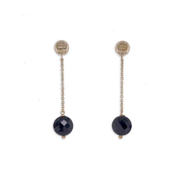 Gold and Onyx Long Drop Earrings