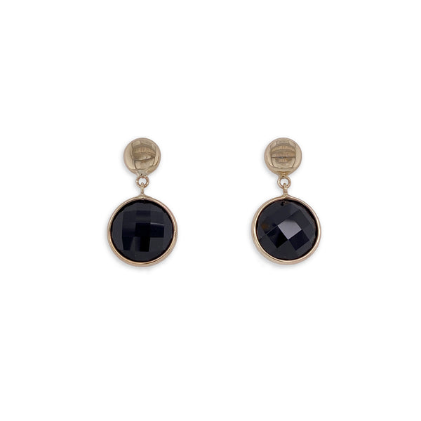 Gold and Onyx Large Drop Earrings
