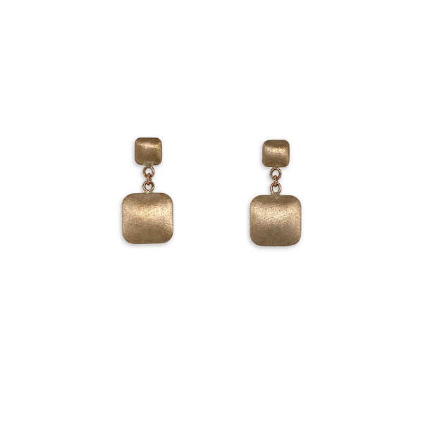 Gold Square Drop Brushed Earrings