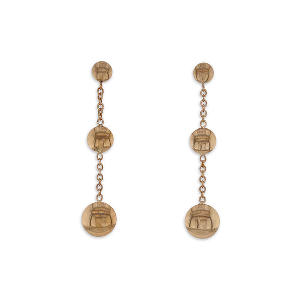 Gold Domed Drop Earrings