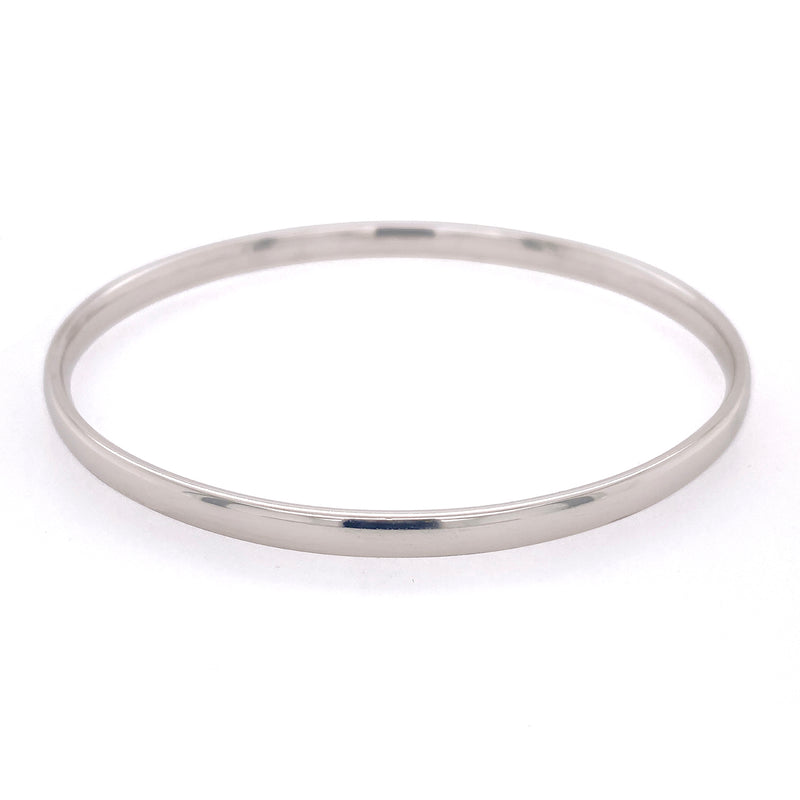 D Shaped 9ct White Gold Bangle 4.5mm