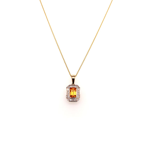Gold, Citrine and Diamond Pendant
