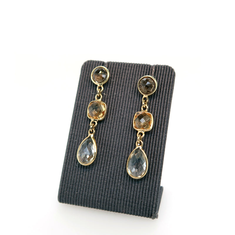Smokey Quartz, Citrine and Blue Topaz Drop Earrings