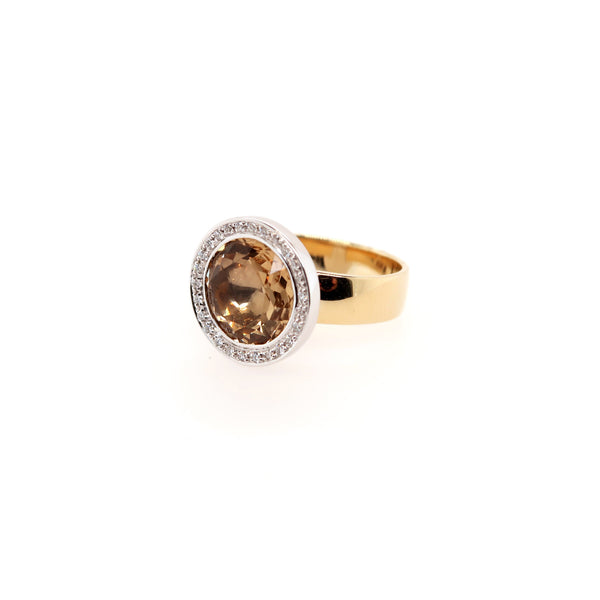 Champagne Quartz and Diamond Ring