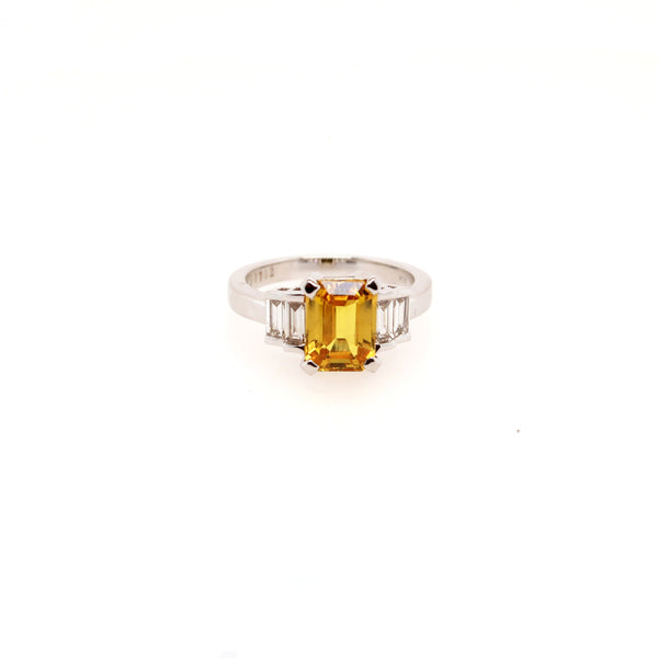 Yellow Saphire and Diamond Ring