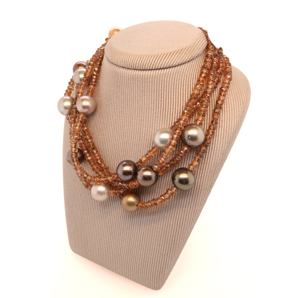 Smokey Quartz and Tahitian Pearl Long Necklet