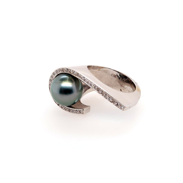 Diamond and Tahitian Pearl Ring