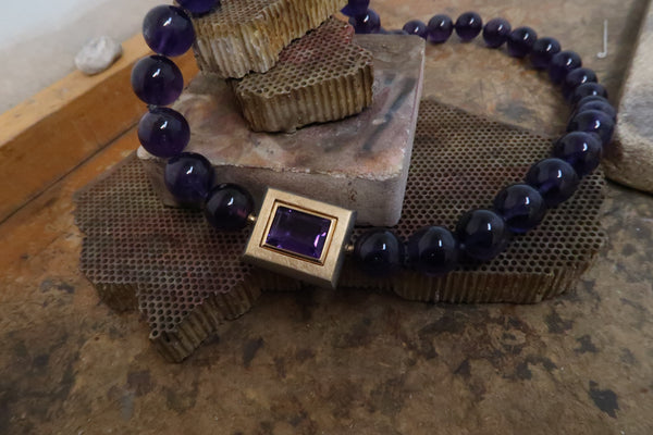 Click Clasp Amethyst Bead Necklace