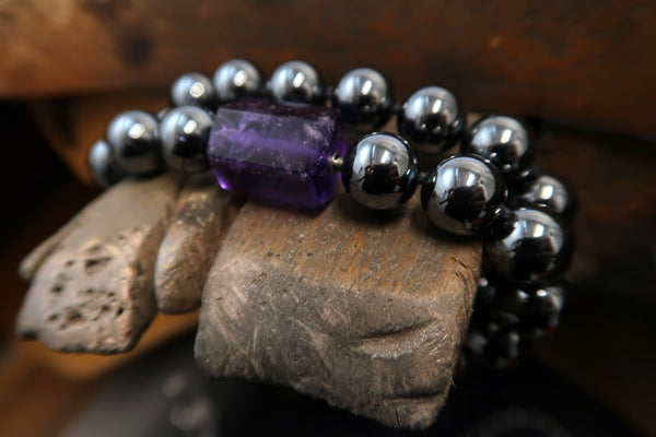 Click Clasp Hematite and Amethyst Necklet