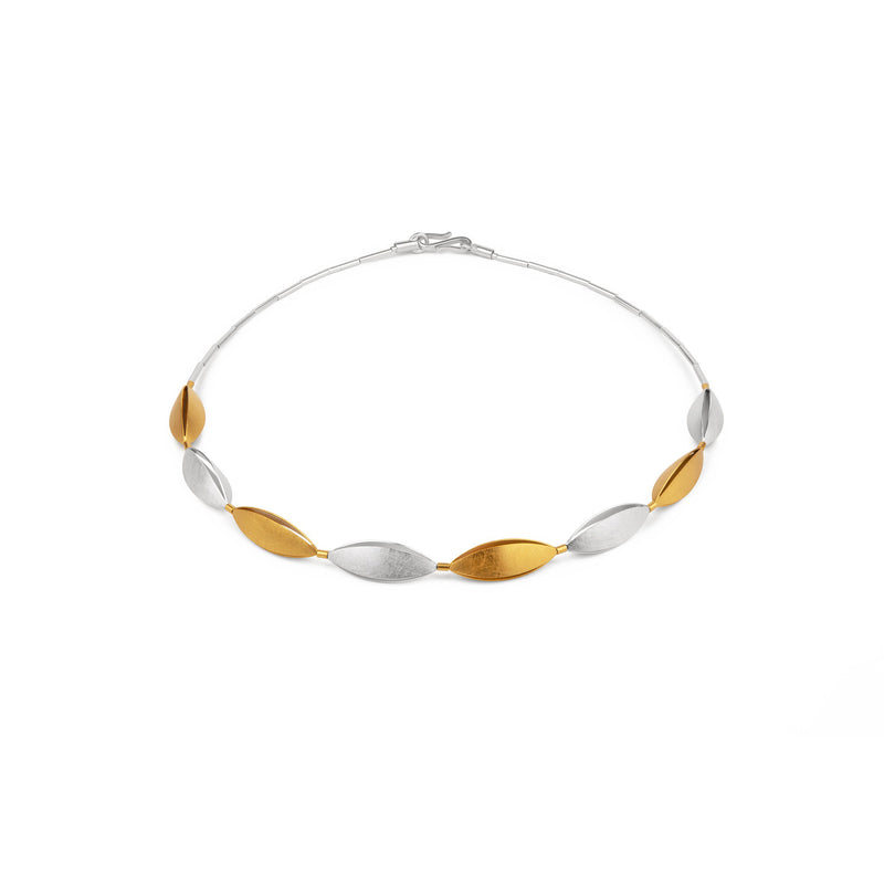 Silver, Gold and Rhodium Necklet