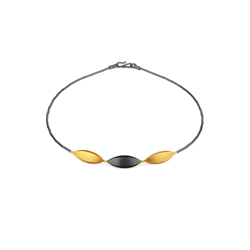 Gold, Silver and Rhodium Necklet