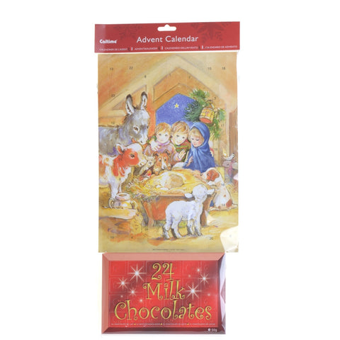 Advent calendar with 24 milk chocolates