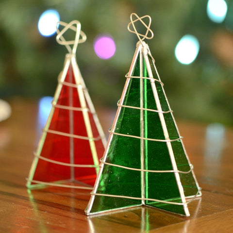 Freestanding glass fused 3D Christmas trees