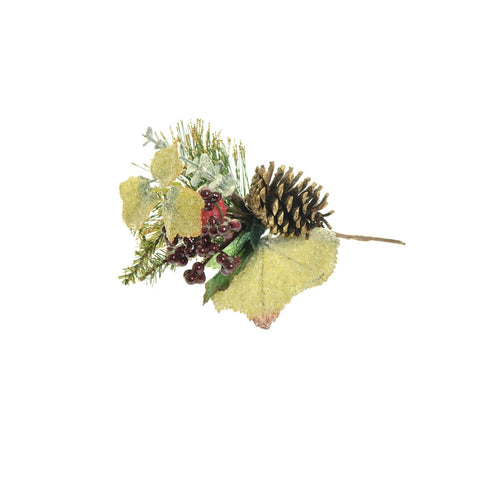 Frosted faux festive foliage, cone and berry decoration