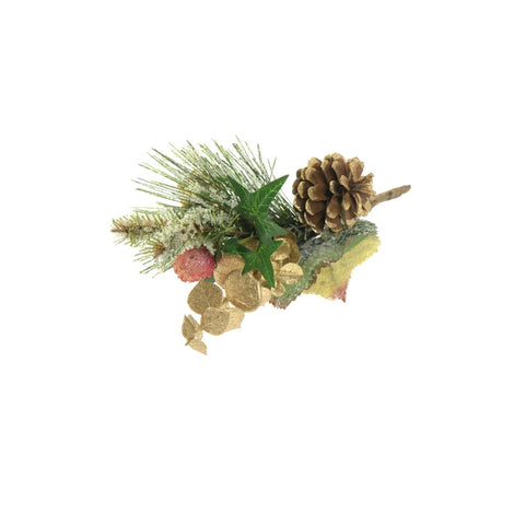 Frosted faux festive foliage, cone decoration