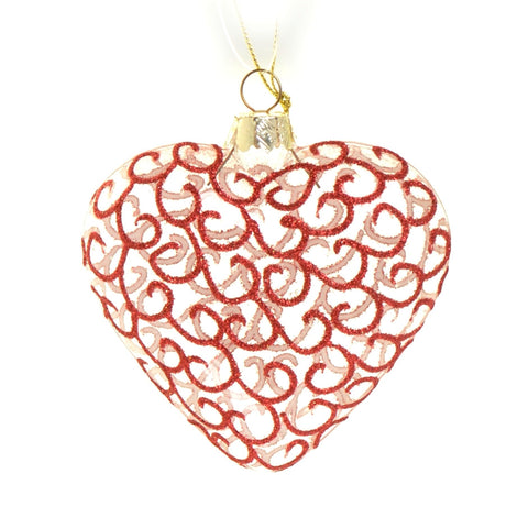 Glass heart with red curls bauble