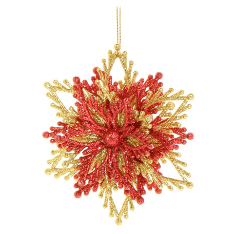 Red and gold 3D snowflake