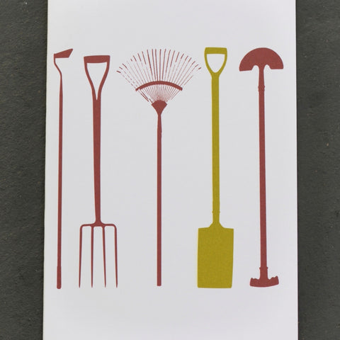 Garden tools greetings card