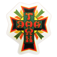 Dogtown Skates Sticker Cross Logo - Rasta/Medium