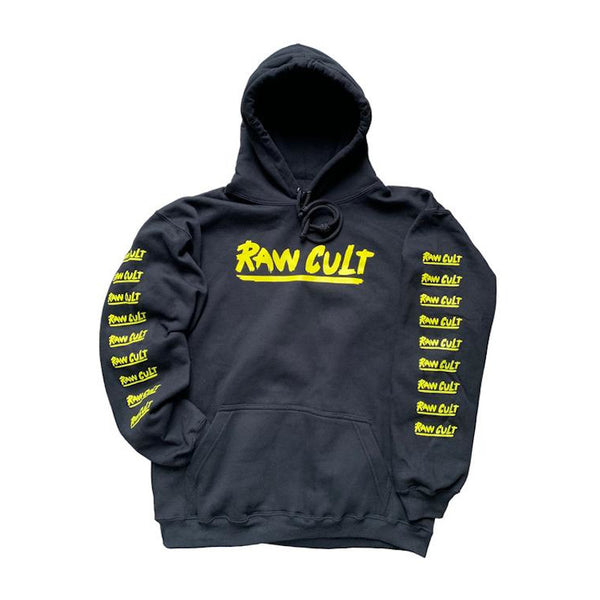 RAW CULT Hoodies Logo (on Sleeve) - Navy Blue/Yellow