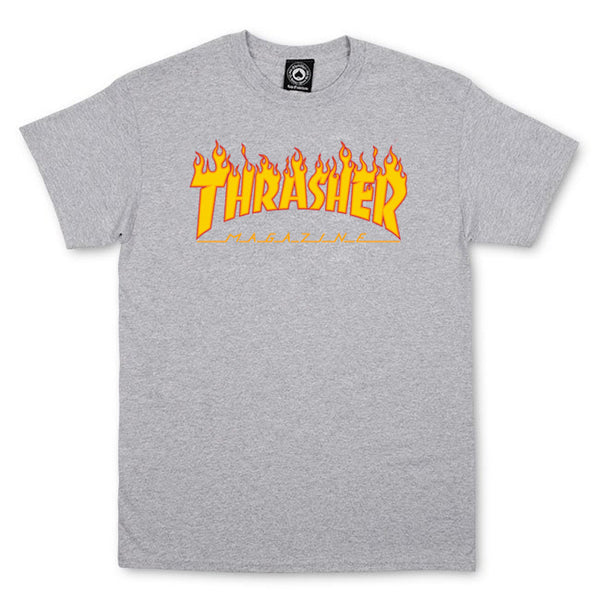 Thrasher T-Shirt FLAME LOGO - Grey