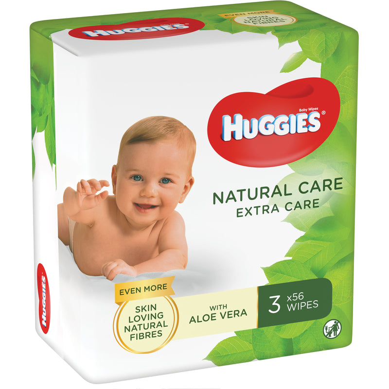 Servetele umede Huggies Natural Care Extra Care 3 pachete x 56 buc