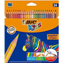 Creioane de colorat BIC Kids Evolution Stripes, 24 culori