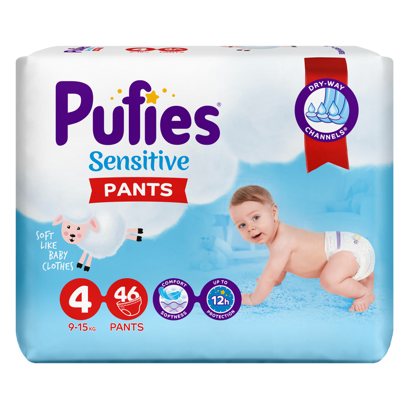 Scutece Chilotel Pufies Pants Sensitive Maxi 4, 9-15 Kg, 46 Buc