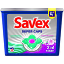 Detergent capsule SAVEX Super Caps 2in1, Fresh, 12 spalari