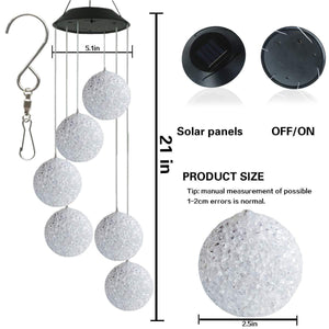 Color-Changing Led Solar Powered Wind Chimes Crystal Ball Outdoor Decor