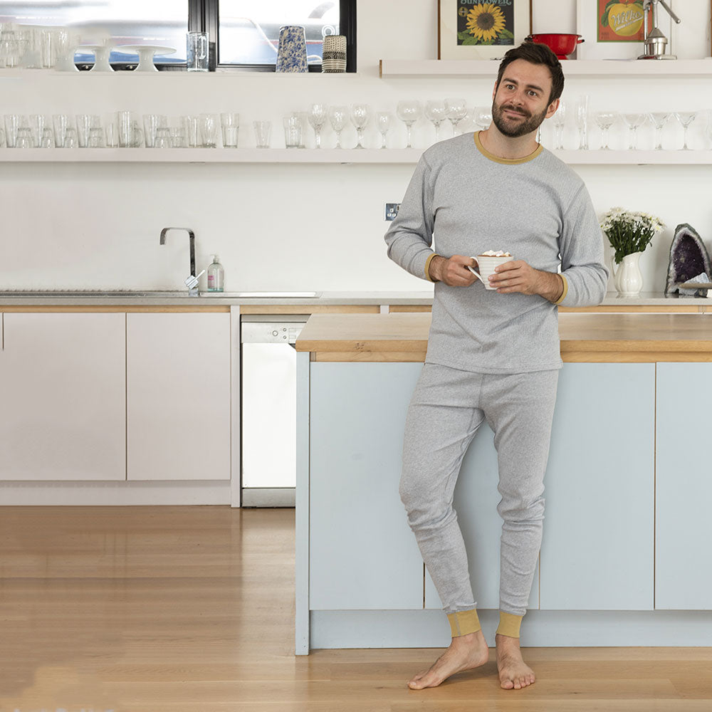Soft Grey and Mustard Adult Long John Pyjamas from Pure Cotton Comfort
