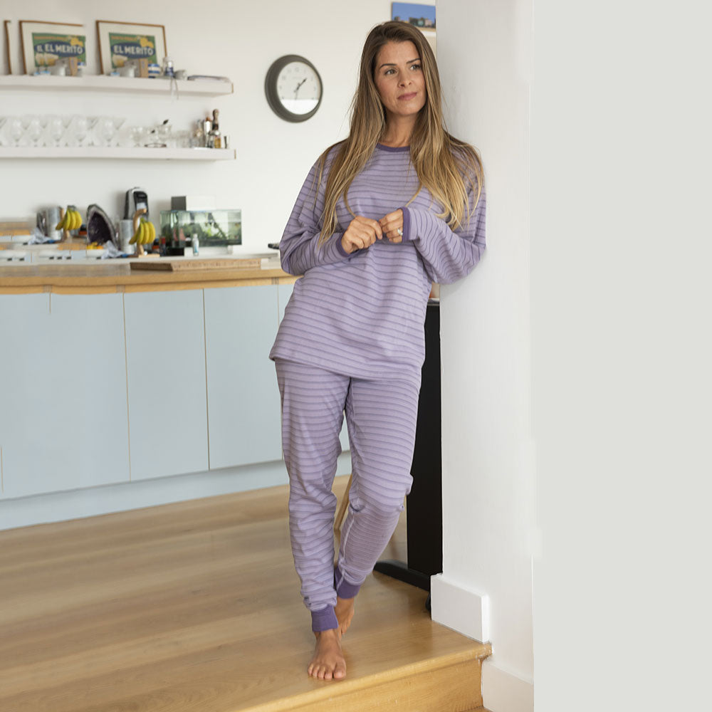 Tulip / Smoke Stripes adult Long John Pyjamas from Pure Cotton Comfort