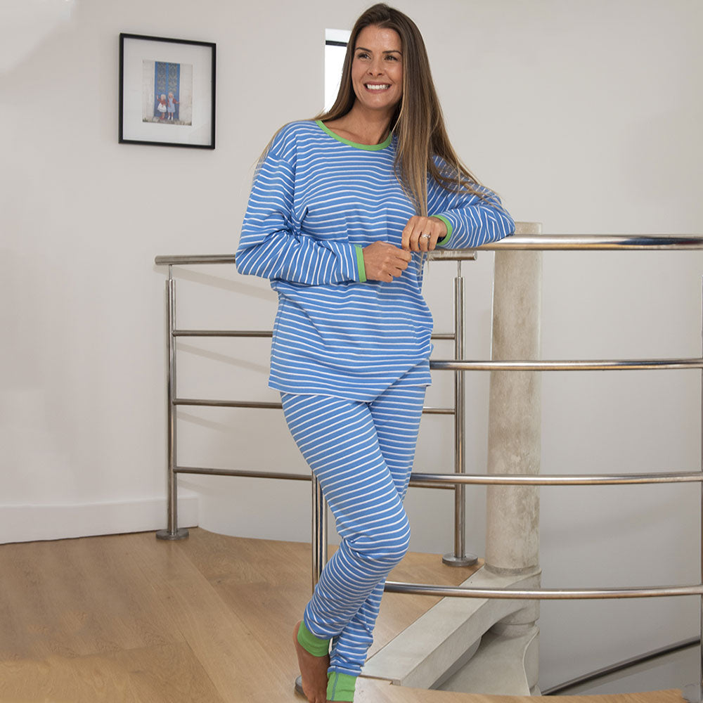 Swedish Blue / Cream Stripes with Green Trim Adult Long John Pyjamas from Pure Cotton Comfort