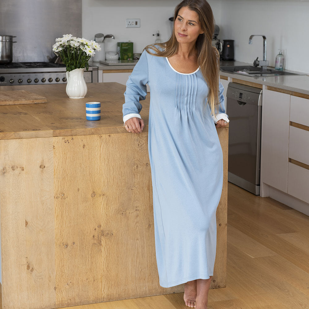 Bluestone Long Sleeve Nightie from Pure Cotton Comfort