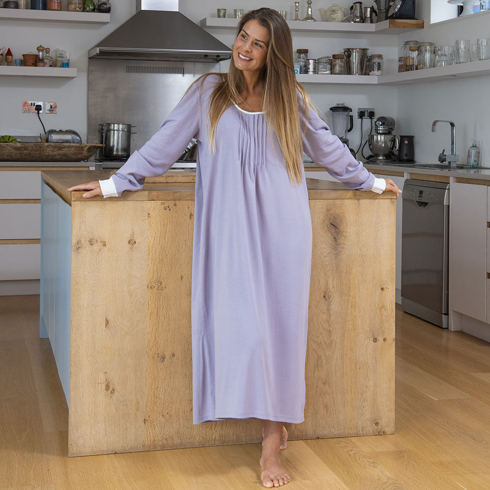 Lilac Long Sleeve Nightie from Pure Cotton Comfort