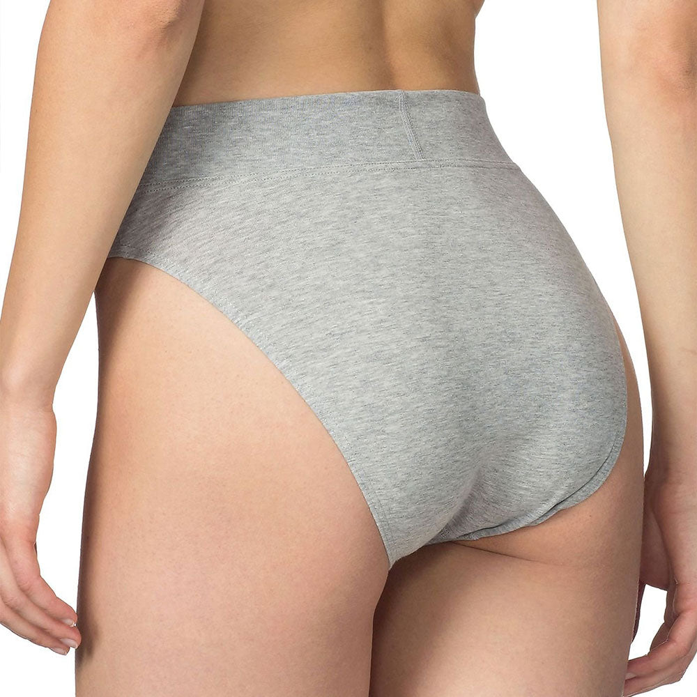 Soft Grey 94% Cotton High Leg Briefs from Pure Cotton Comfort