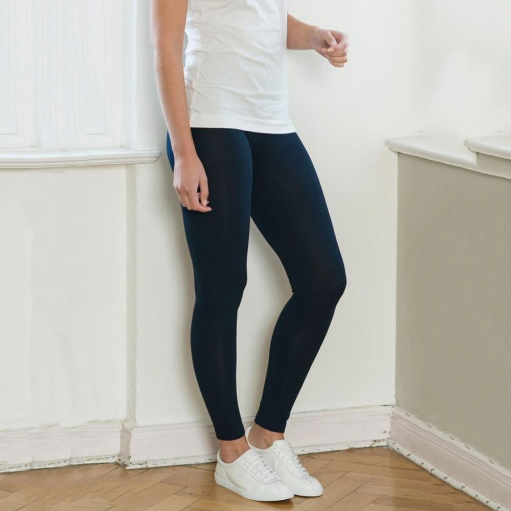 Navy 92% Organic Cotton / 8% Elastane Leggings from Pure Cotton Comfort