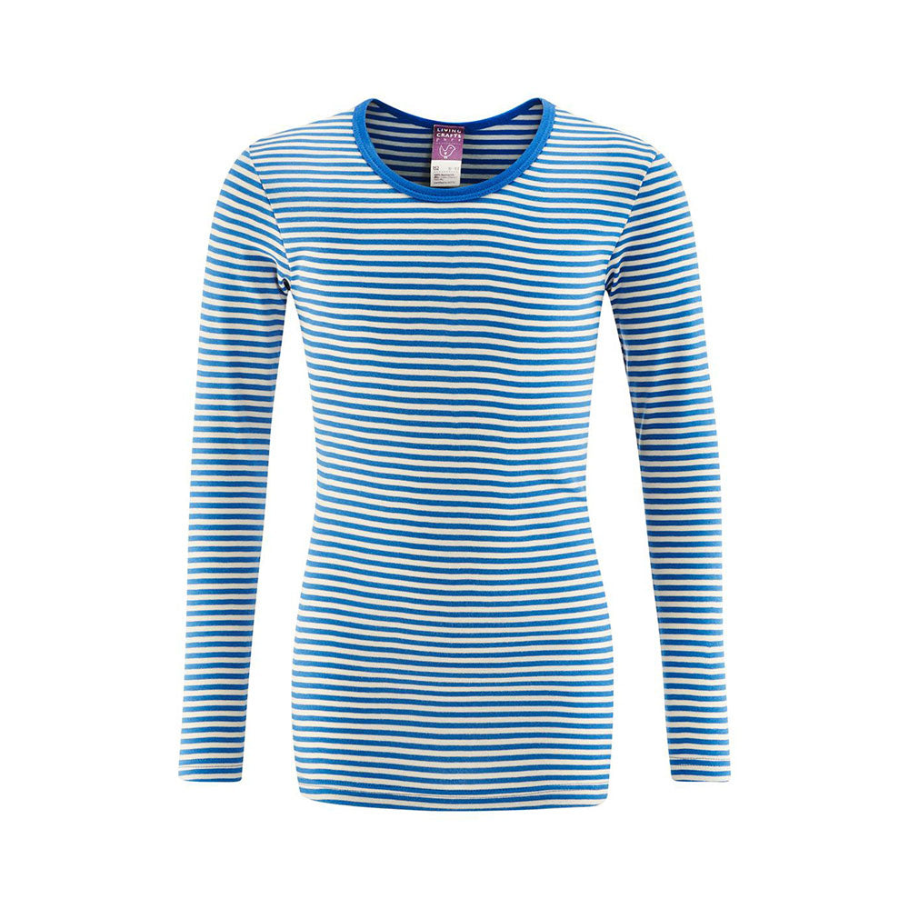Blue and Natural  100% Organic Cotton Long Sleeve Shirt from Pure Cotton Comfort