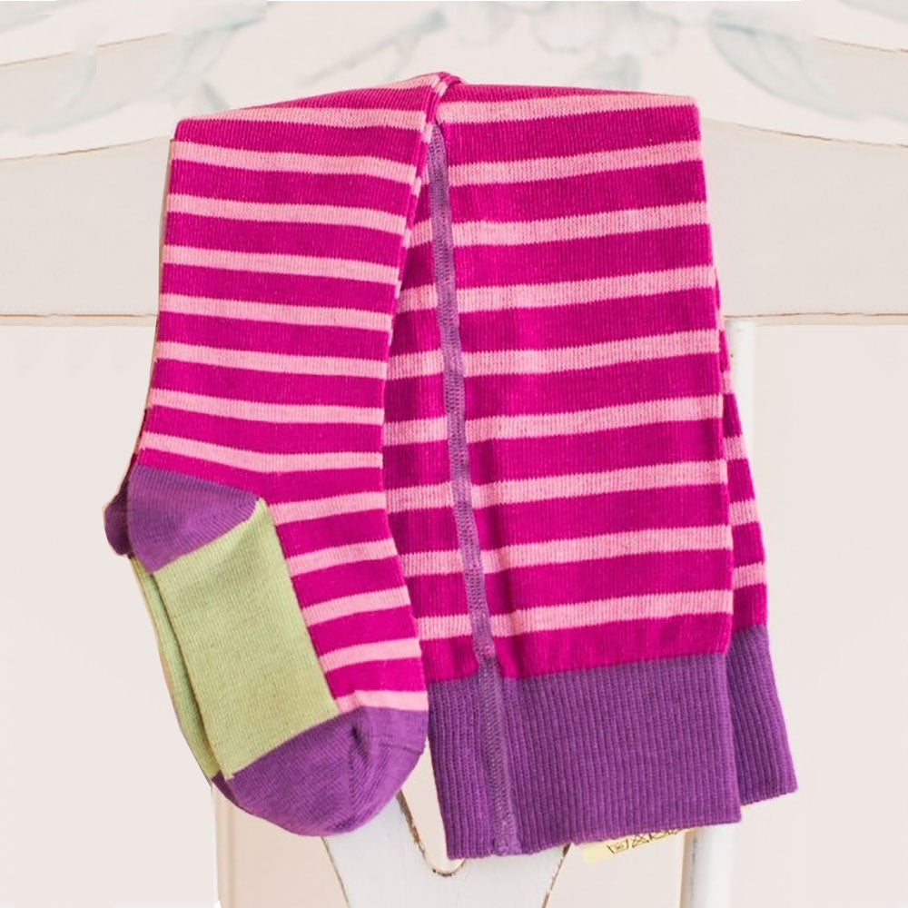 Orchid Rose  98% Organic Cotton Flat Knit Striped Tights from Pure Cotton Comfort