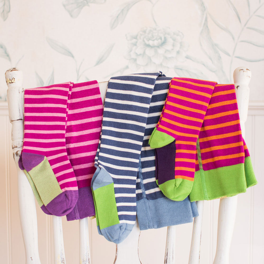 98% Organic Cotton Flat Knit Striped Tights from Pure Cotton Comfort